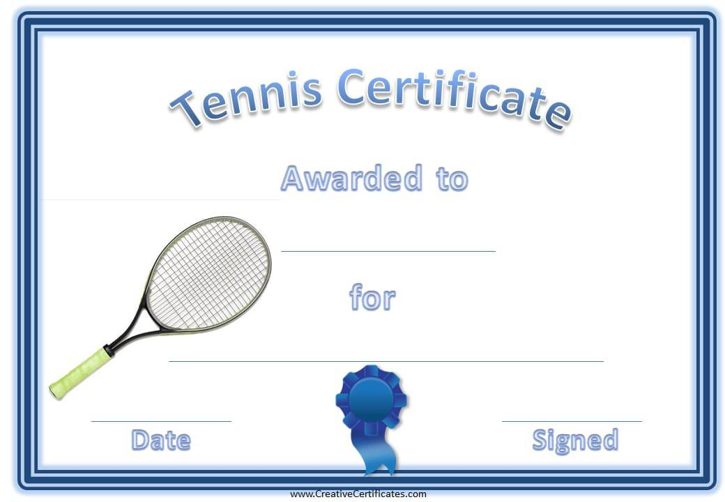 free tennis certificate templates
