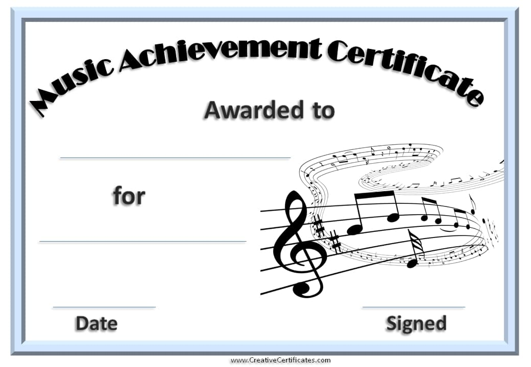 free editable music certificate template