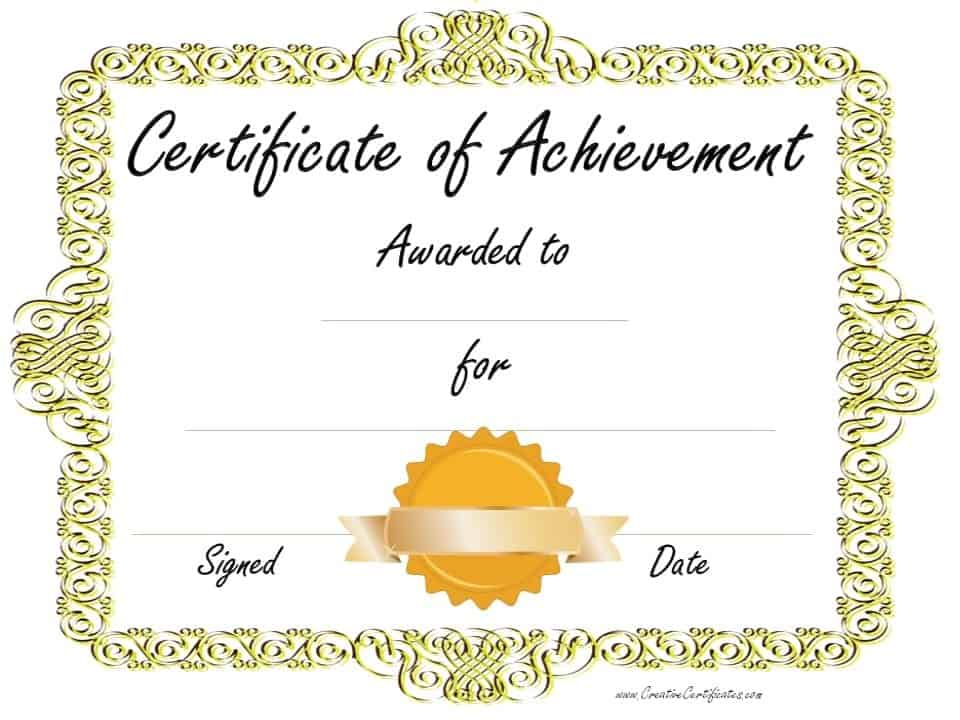 Candid image pertaining to free printable certificate of achievement