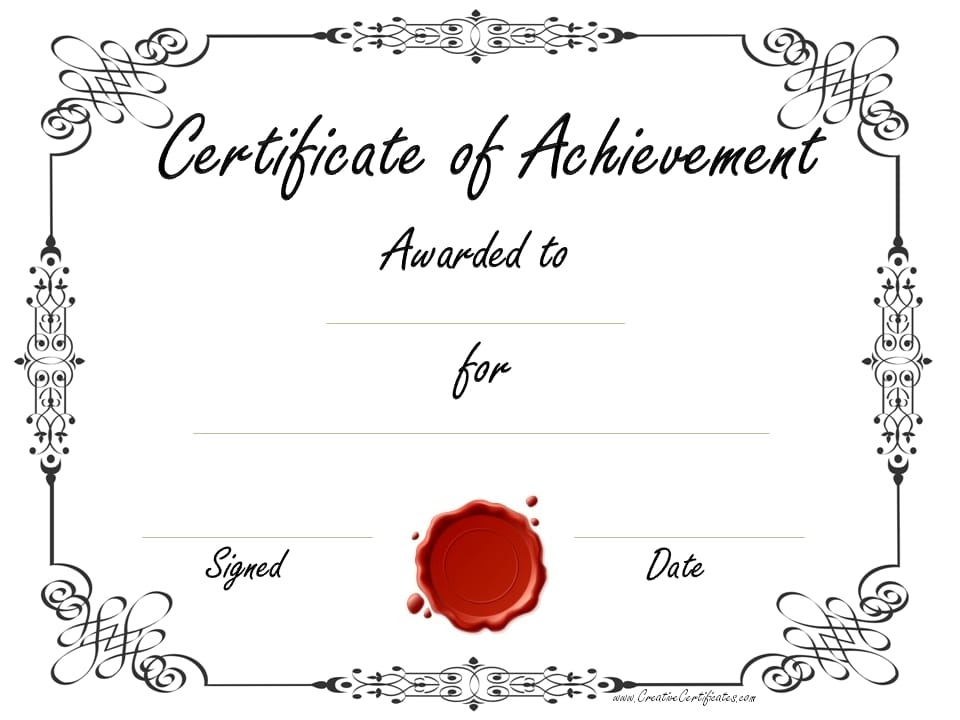black and white certificate templates - Free Printable Certificate Of Achievement Template