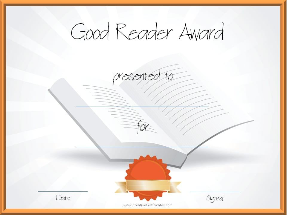 Free Editable Reading Certificate Templates Instant Download