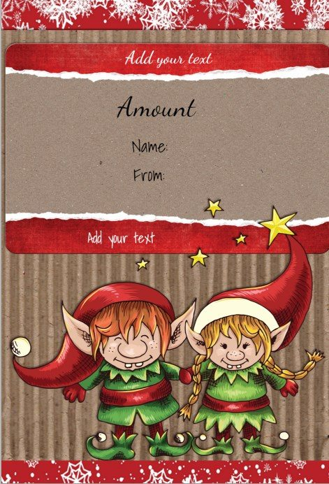 free printable gift certificate template with two cute elves - Printable Christmas Gift Certificates Templates Free