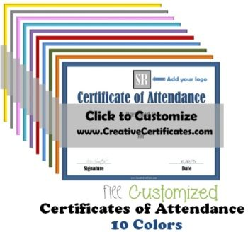free printable certificate of attendance customize online