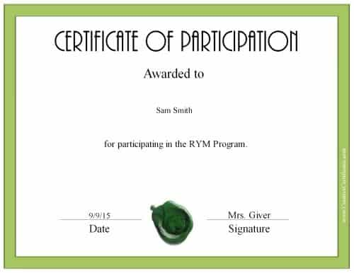 custom participation certificate with a green border and a green wax seal - Certificate Of Participation Word Template
