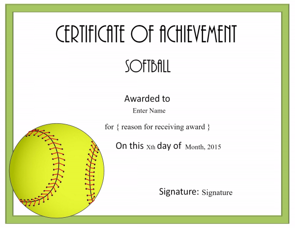free softball certificate templates customize online