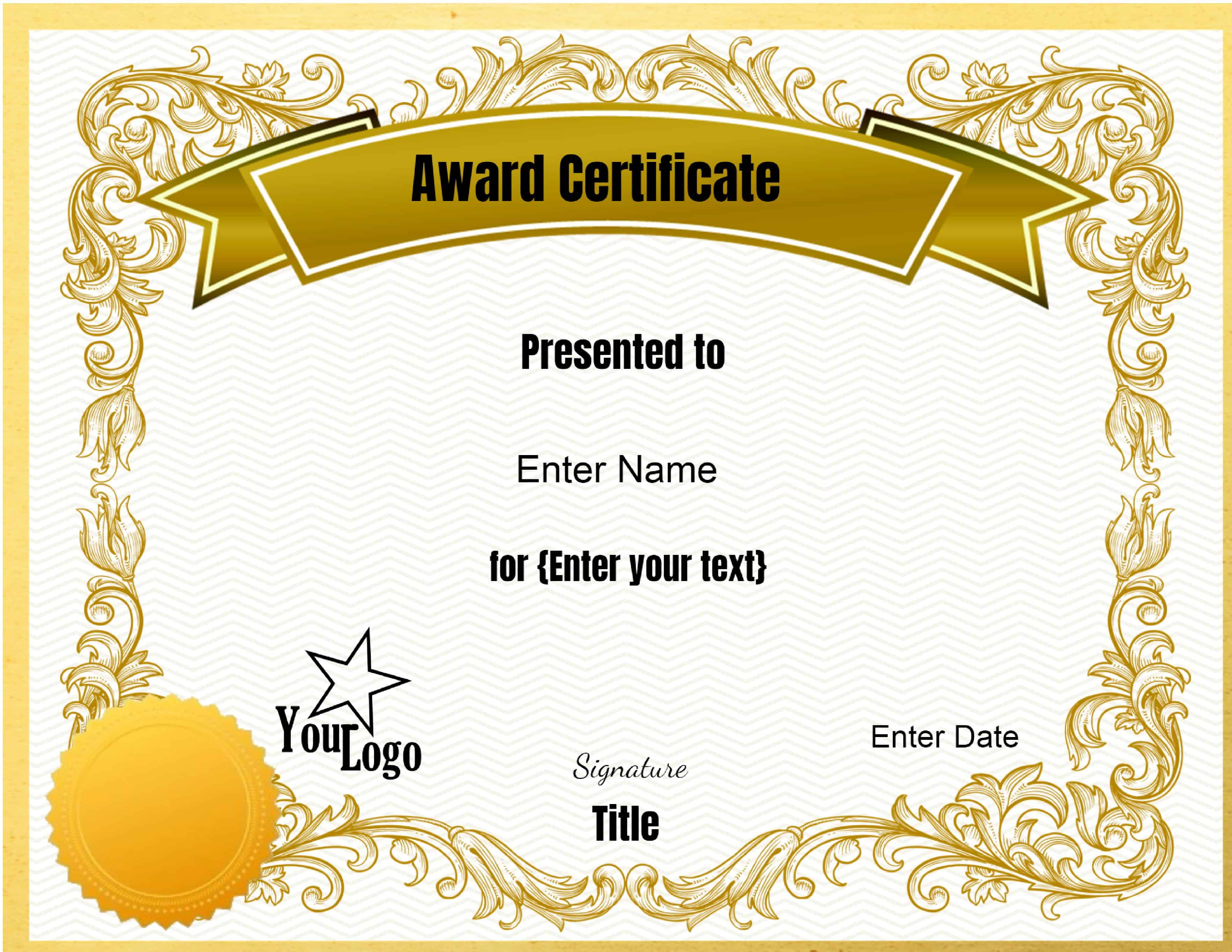 Free Editable Certificate Template Customize Online Print At Home