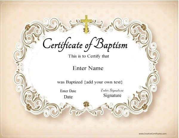 Free Customized Baptism Certificate