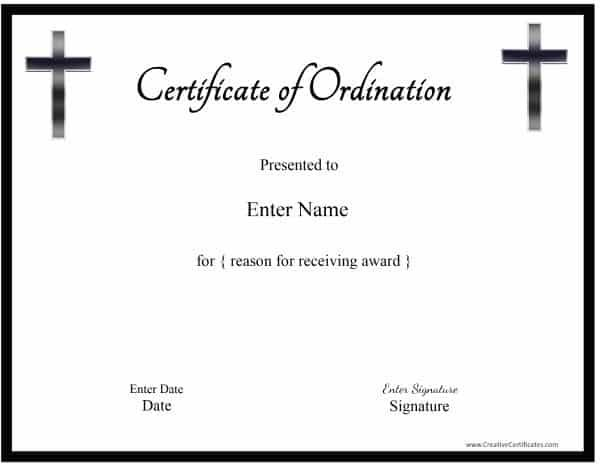 select an ordination certificate template and click on it to customize online - Free Ordination Certificate Template
