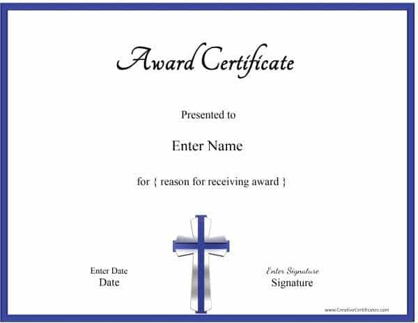 christian certificate template