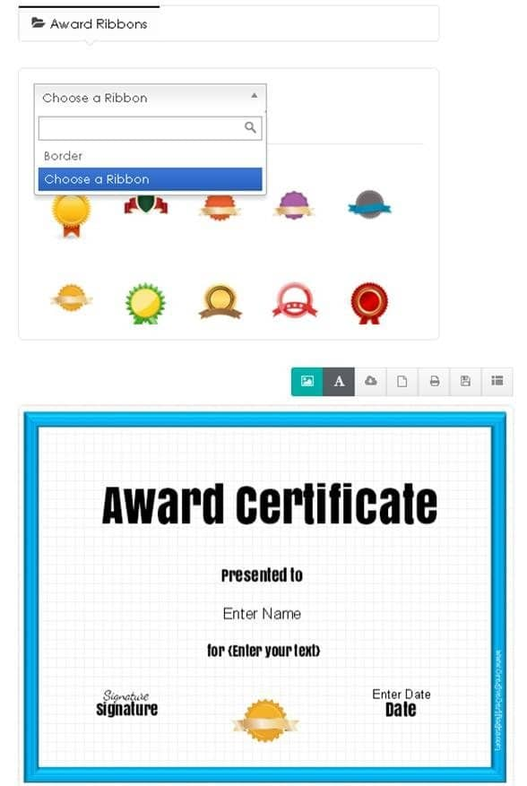 How to change the ribbon on your award certificate template