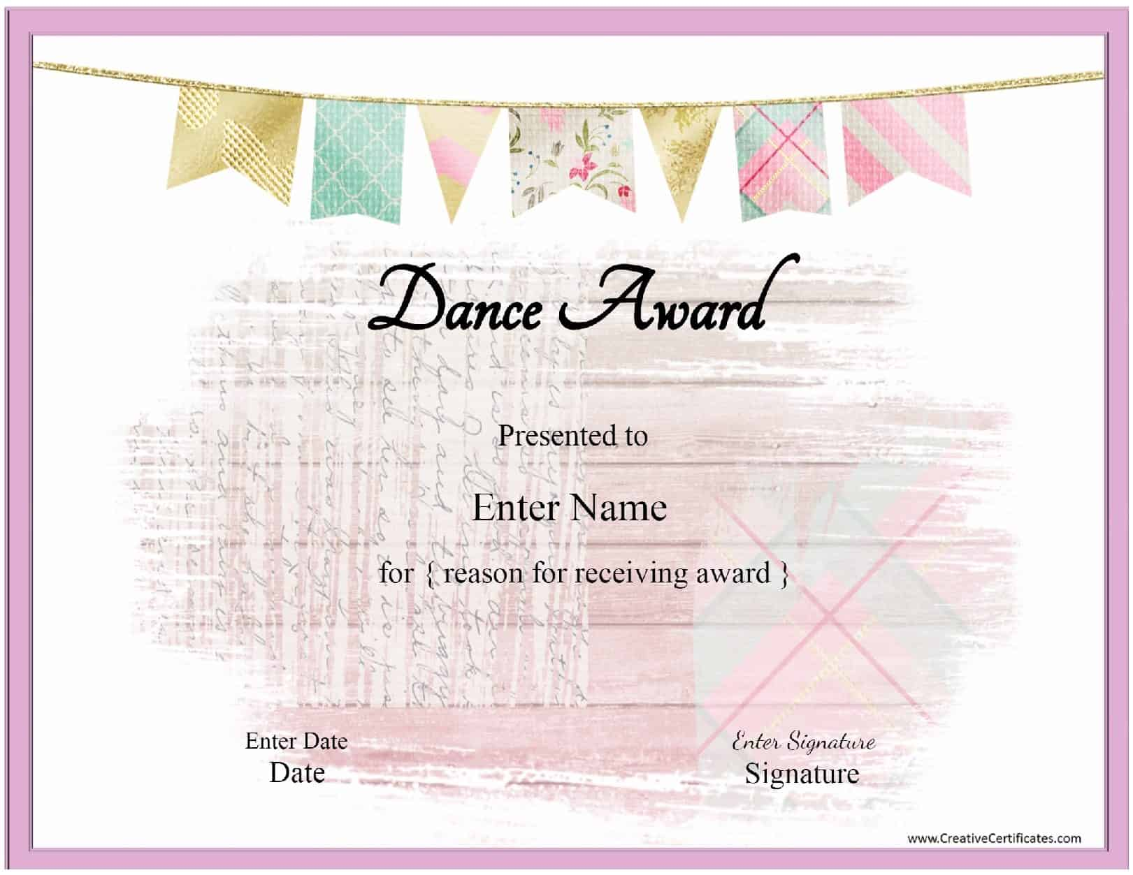 Free Printable Award Certificates Dance 3d House Drawing