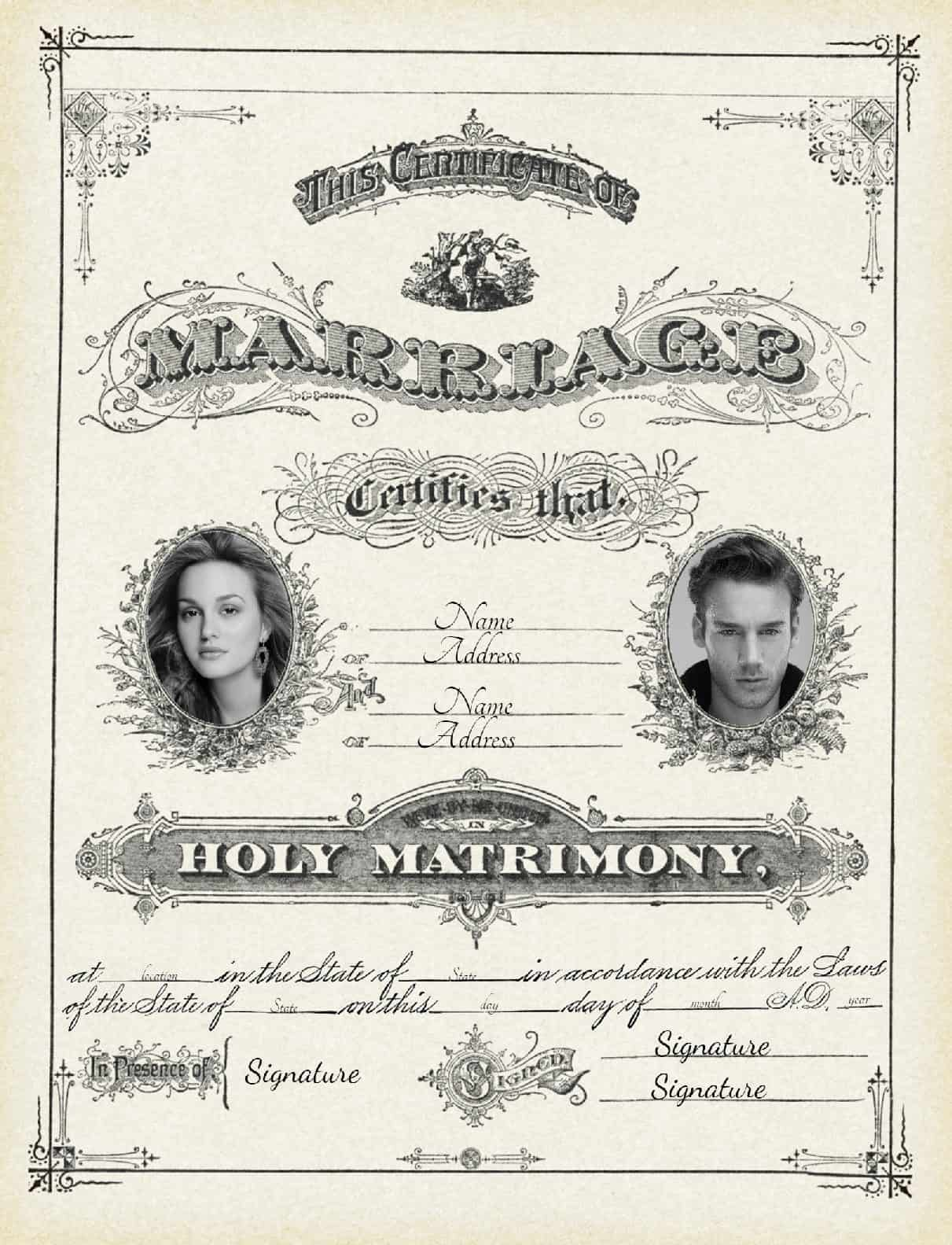 Free Marriage Certificate Template | Customize Online then ...