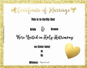 marriage certificates to print