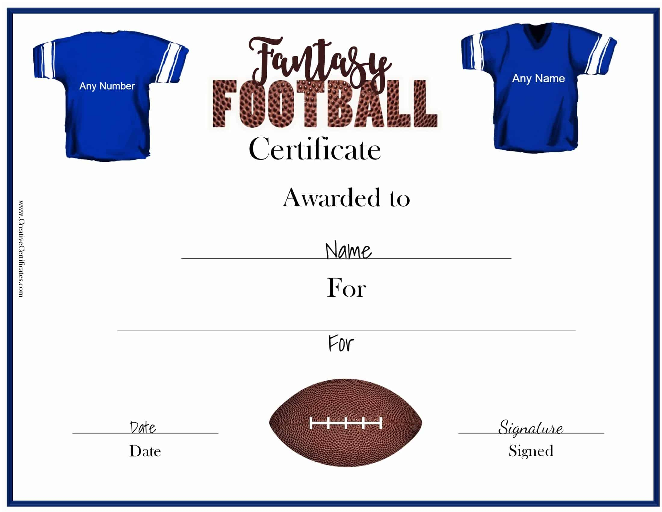 Free Fantasy Football Awards Customize Online Print