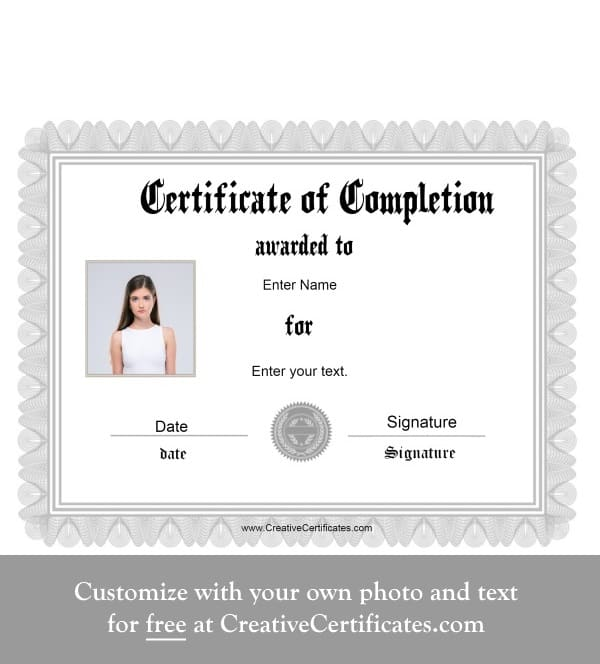 Free Certificate Of Completion Customize Online Instant Download