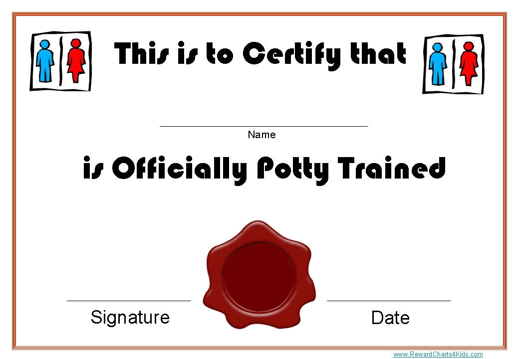free printable potty training award certificates