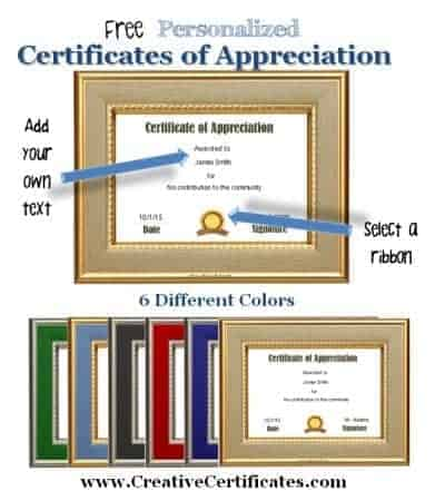 text for certificate of appreciation