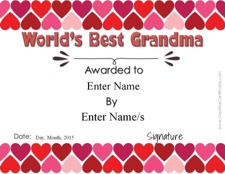 certificate with hearts at the top and bottom of the template to be awarded to grandmothers