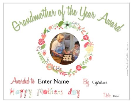 grandmother of the year award with space to insert a photo online