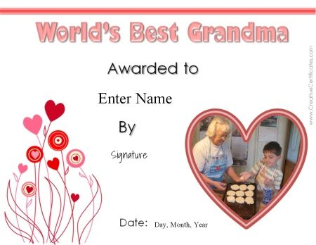 award certificate for grandma