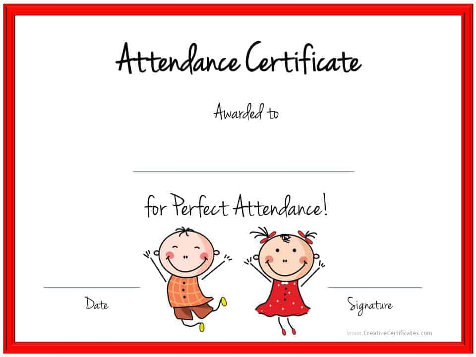 High Quality Attendance Award Within Attendance Certificates Free Templates