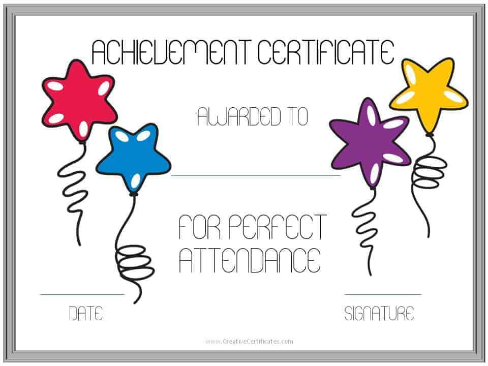 Perfect attendance award certificates free instant download achievement certificate yadclub Choice Image