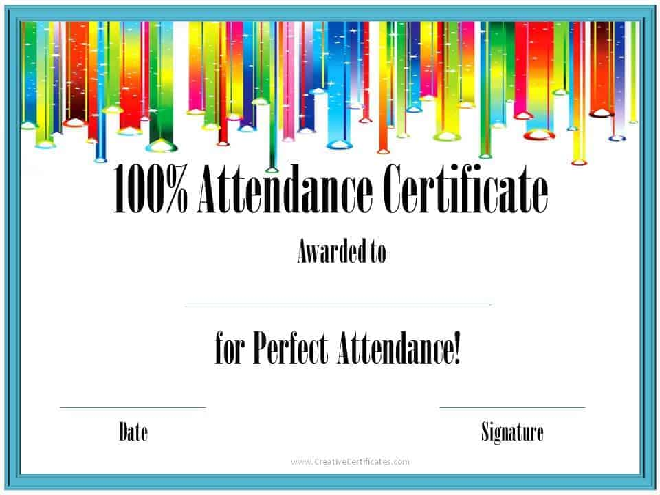 perfect attendance award template  Perfect Attendance Award Certificates