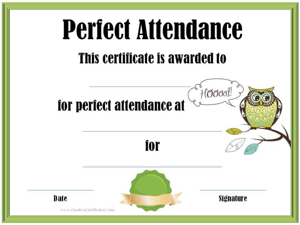 Perfect attendance award certificates perfect attendance certificate yadclub
