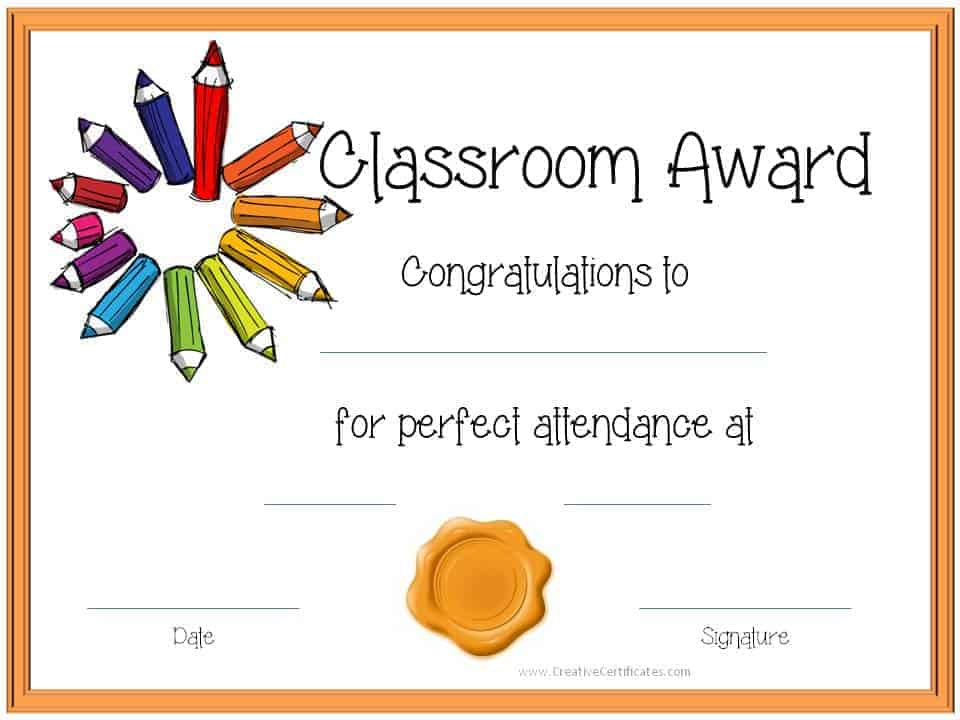 Amazing Classroom Award Customize U0026 Print · Perfect Attendance Certificate In Attendance Certificates Printable