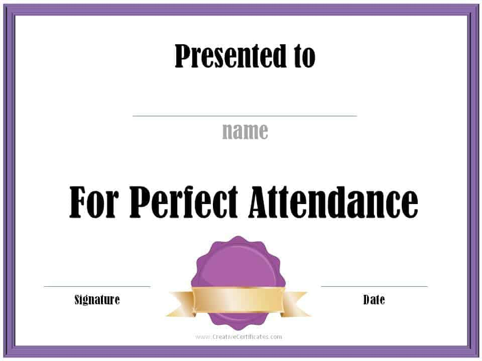 Perfect attendance award certificates free instant download perfect attendance award yelopaper Choice Image