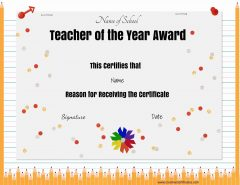 Teacher of the month award