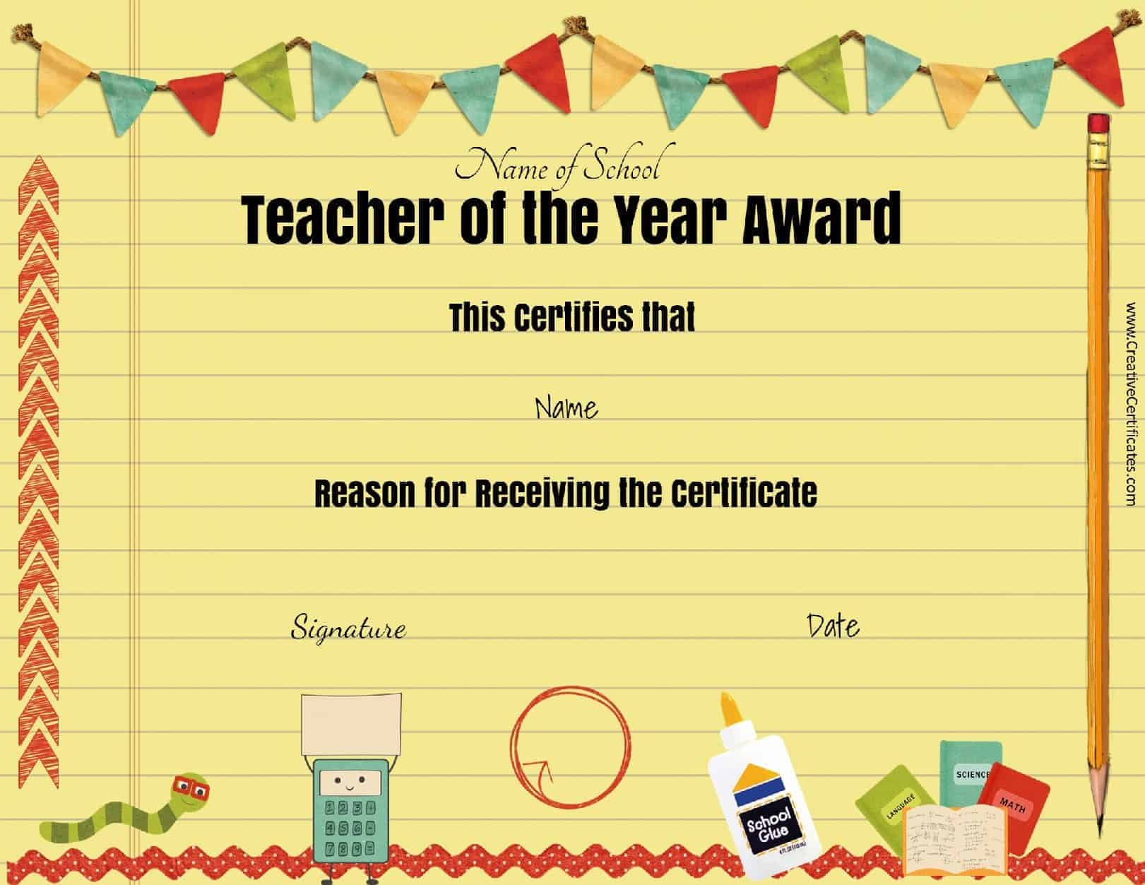 Free Teacher Awards – Free Customizable Printable Certificates of Achievement