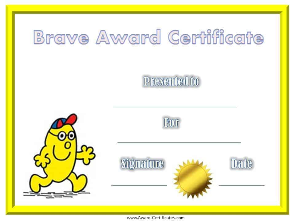 Free Printable Bravery Certificates For Kids