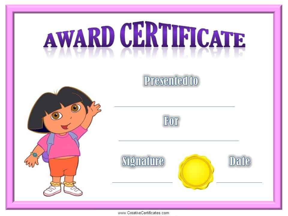 Childrens certificates free and customizable instant download dora the explorer yadclub