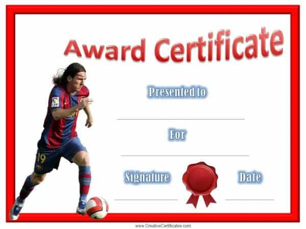 Lionel Messi award certificate with a red border and a red ribbon