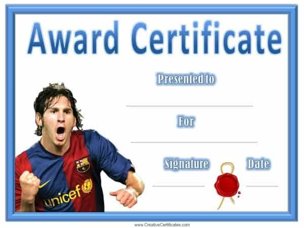 Printable soccer award with a picture of Lionel Messi