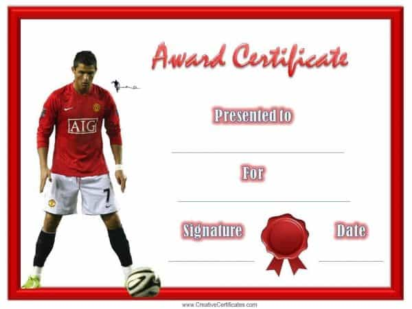 Soccer printable with a picture of Cristiano Ronaldo