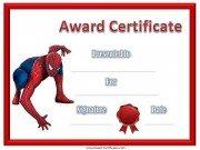 Spiderman Award Certificate