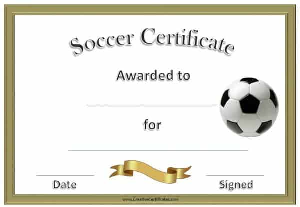 Free soccer certificates this one has a gold border and a gold ribbon