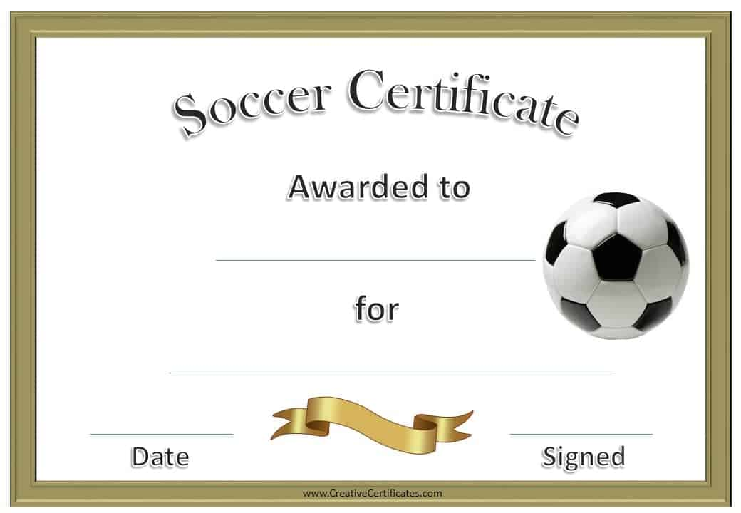 printable sport certificates  Soccer Award Certificate Template - Customize Online