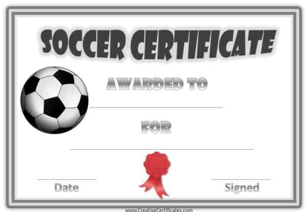 printable soccer award certificate with a silver double border and a soccer ball