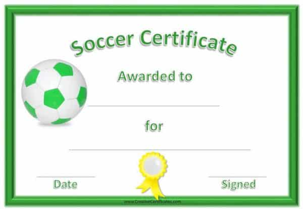 Free printable soccer certificate template with a green border and a green and white ball