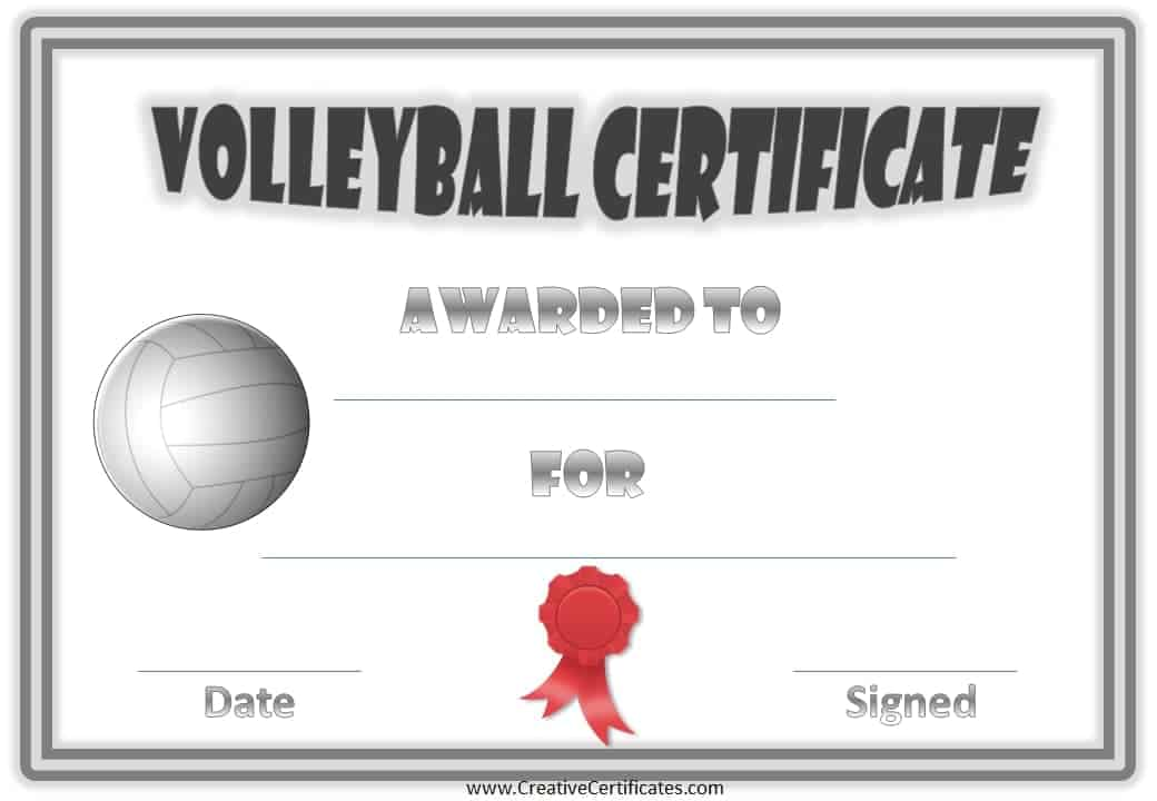 Free volleyball certificate templates customize online volleyball certificate with a grey border volleyball and red ribbon yadclub Gallery