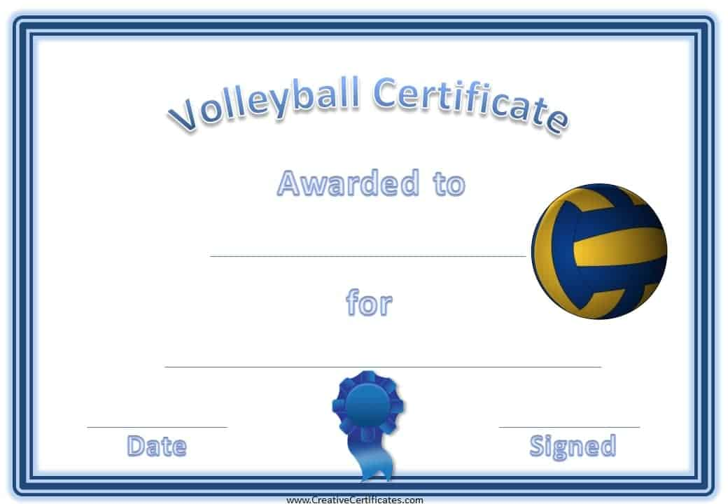 Free volleyball certificate templates customize online volleyball certificates sports award for volleyball yadclub Images