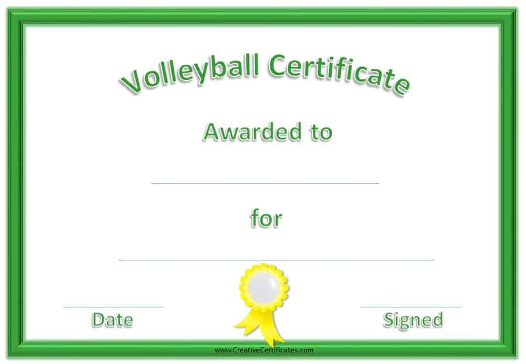 Free volleyball certificate templates customize online volleyball certificate yelopaper Image collections