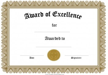 Elegant Award Of Excellence For Certificates Templates