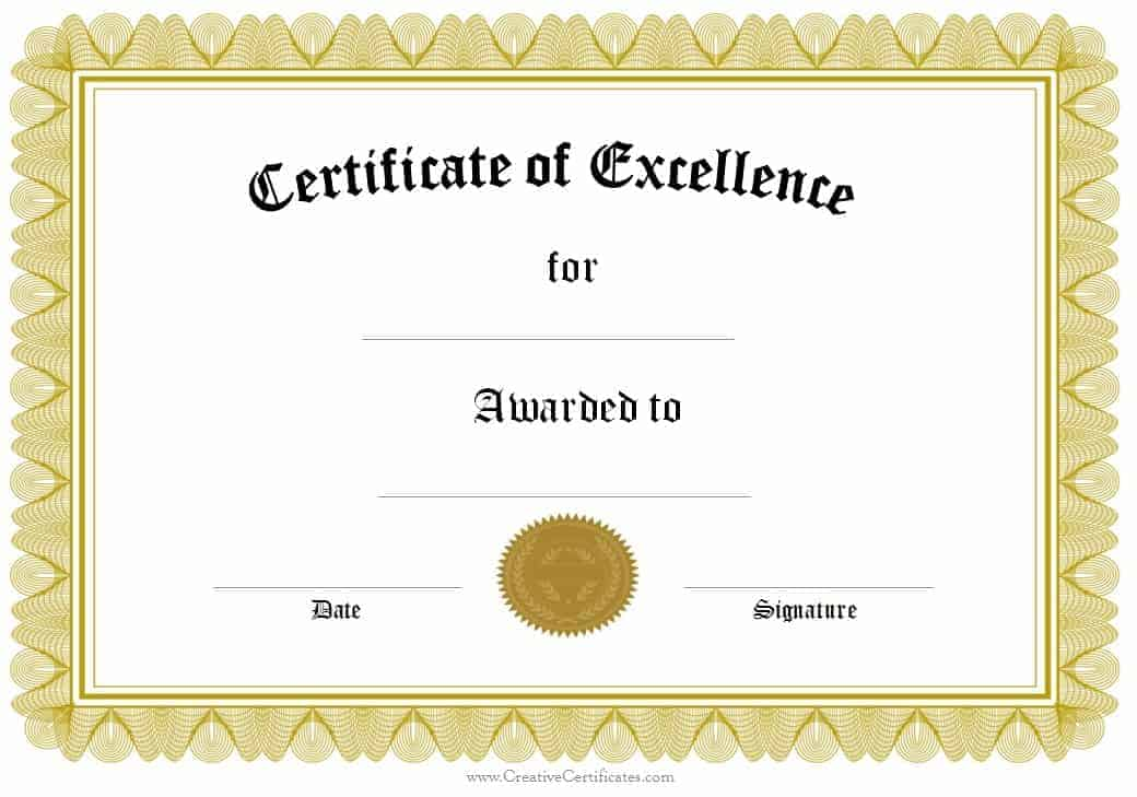 Attractive Award Of Excellence On Certificates Of Excellence Templates