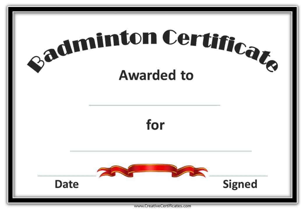Free badminton certificate template customize online free badminton certificates badminton certificate template badminton certificate badminton certificates yadclub Images