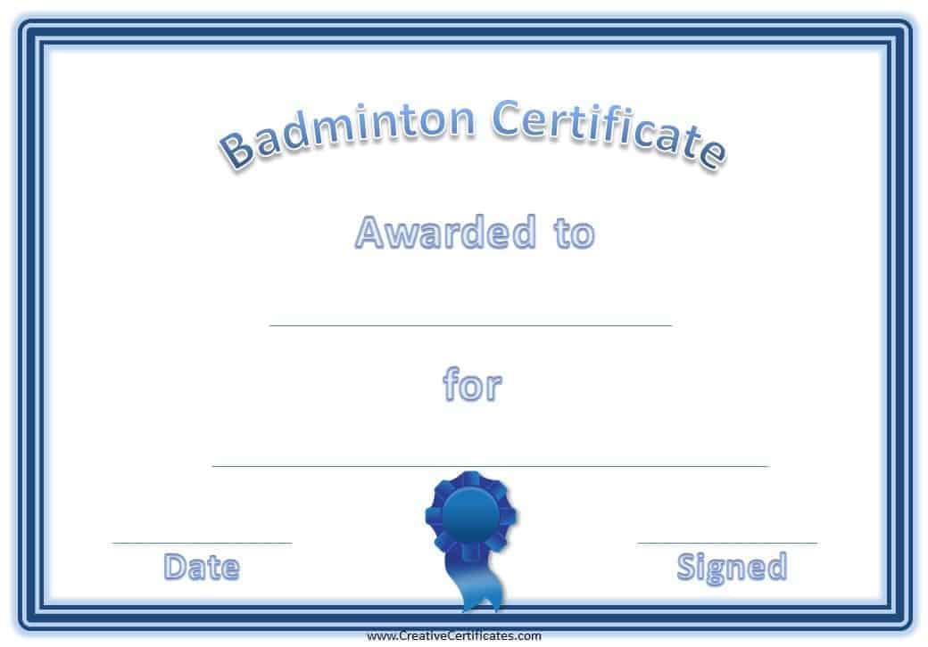 badminton certificates 4