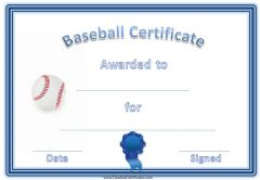 Free baseball certificate awards customize online baseball certificate template with blue border and ribbon and baseball yadclub Images